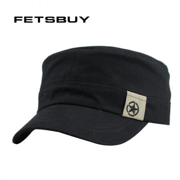 FETSBUY Classic Vintage Flat Top Mens Caps And Hat Adjustable Fitted Cap Warm Casual Star Military Hats For Men Caps Gorras 2