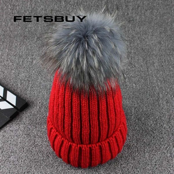 FETSBUY Mink Fur Ball Cap Gray Pom Poms Winter Hat For Women Girl 'S Wool Hat Knitted Cotton Beanies Cap Brand Thick Female Cap 2