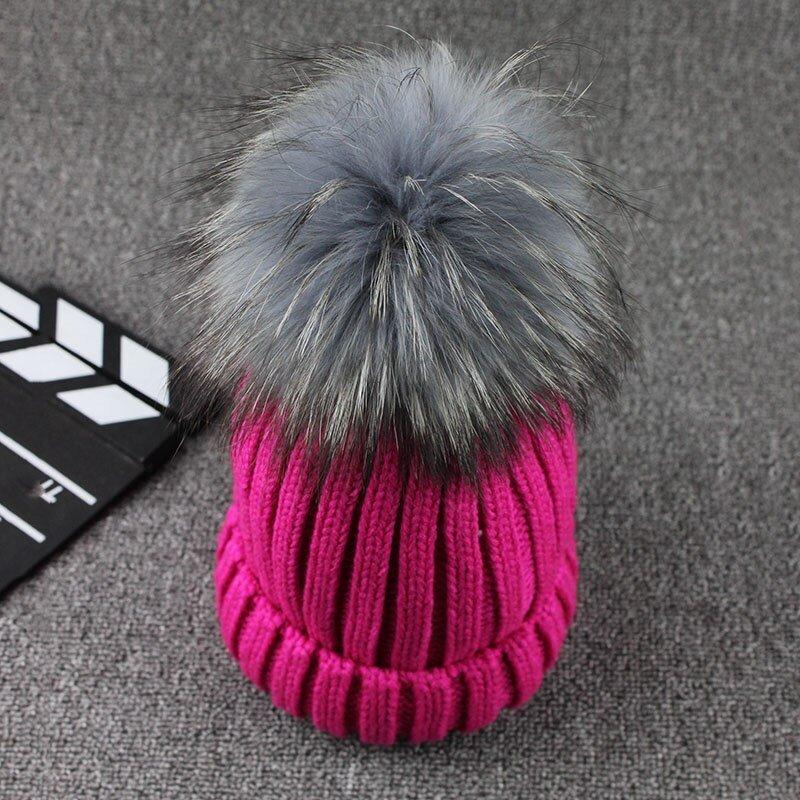 FETSBUY Mink Fur Ball Cap Gray Pom Poms Winter Hat For Women Girl 'S Wool Hat Knitted Cotton Beanies Cap Brand Thick Female Cap 3