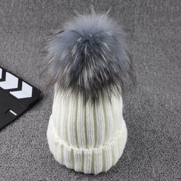 FETSBUY Mink Fur Ball Cap Gray Pom Poms Winter Hat For Women Girl 'S Wool Hat Knitted Cotton Beanies Cap Brand Thick Female Cap 8