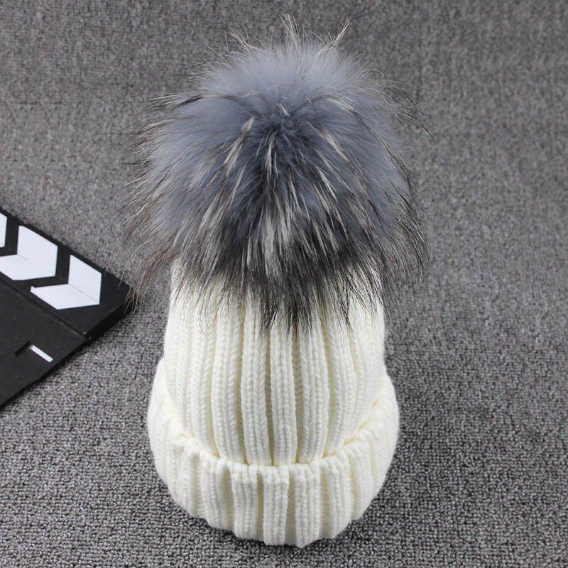 FETSBUY Mink Fur Ball Cap Gray Pom Poms Winter Hat For Women Girl 'S Wool Hat Knitted Cotton Beanies Cap Brand Thick Female Cap 7