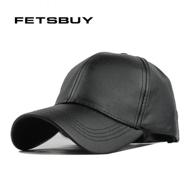 FETSBUY New High Quality Leather Cap Biker Trucker Caps PU Solid Color HIP HOP Snapback Baseball Cap Fitted Adjustable Hat 2017 2