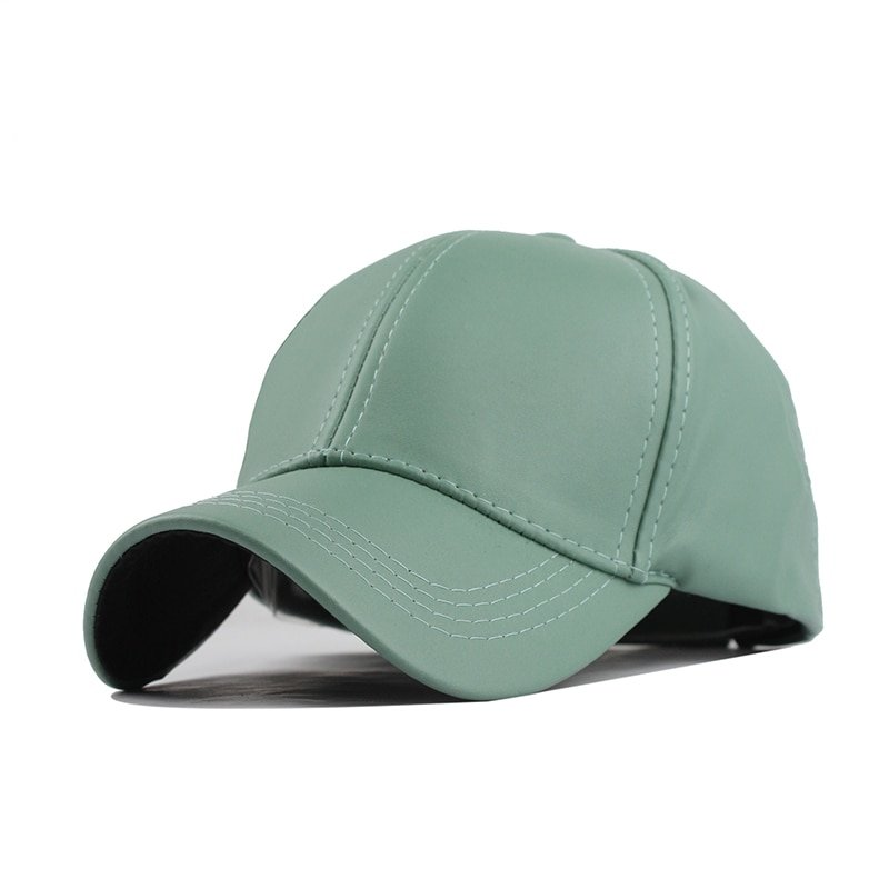 FETSBUY New High Quality Leather Cap Biker Trucker Caps PU Solid Color HIP HOP Snapback Baseball Cap Fitted Adjustable Hat 2017 3