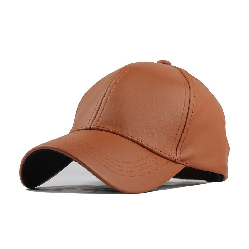 FETSBUY New High Quality Leather Cap Biker Trucker Caps PU Solid Color HIP HOP Snapback Baseball Cap Fitted Adjustable Hat 2017 5