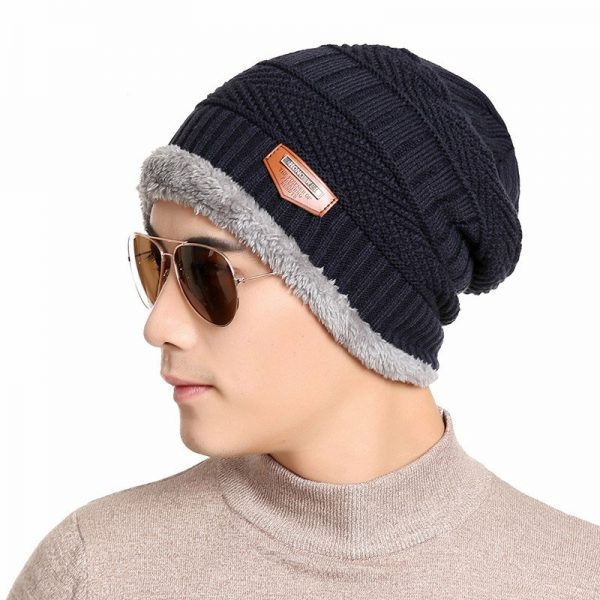FETSBUY Pure Color Winter Skullies Beanies Hat Knit Winter Hat For Man Warm Hat Velvet Cap Bonnet Toucas Inverno Knitted Hats 2