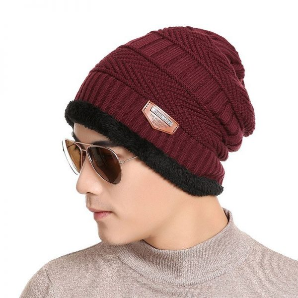 FETSBUY Pure Color Winter Skullies Beanies Hat Knit Winter Hat For Man Warm Hat Velvet Cap Bonnet Toucas Inverno Knitted Hats 6