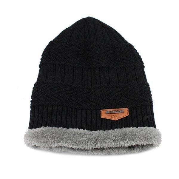 FETSBUY Pure Color Winter Skullies Beanies Hat Knit Winter Hat For Man Warm Hat Velvet Cap Bonnet Toucas Inverno Knitted Hats 4