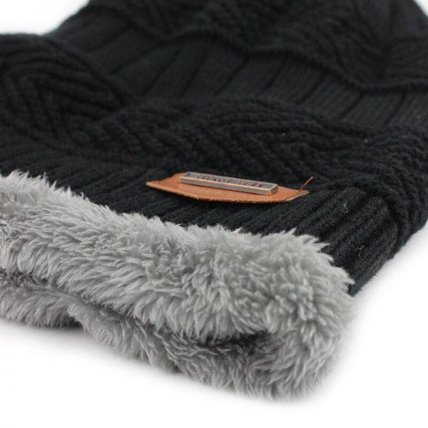 FETSBUY Pure Color Winter Skullies Beanies Hat Knit Winter Hat For Man Warm Hat Velvet Cap Bonnet Toucas Inverno Knitted Hats 6