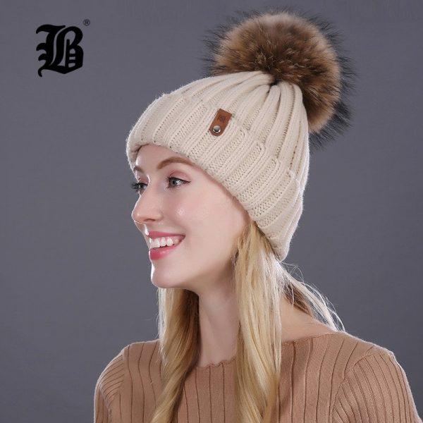 [FLB] Wholesale Real Mink Fur Pom Poms Knitted Hat Ball Beanies Winter Hat For Women Girl 'S Wool Hat Cotton Skullies Female Cap 6