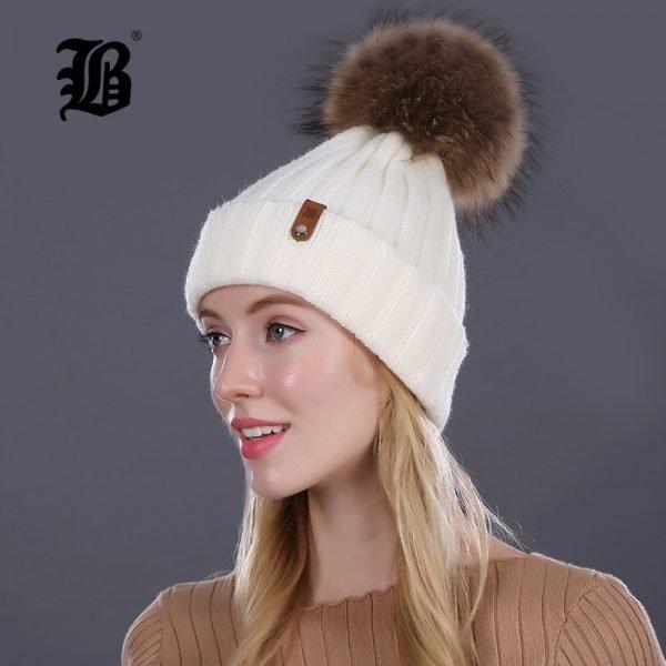 [FLB] Wholesale Real Mink Fur Pom Poms Knitted Hat Ball Beanies Winter Hat For Women Girl 'S Wool Hat Cotton Skullies Female Cap 8