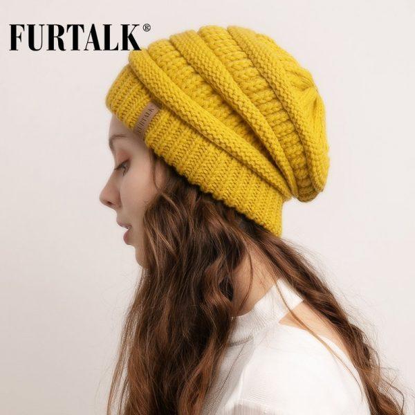 FURTALK Slouchy Beanie Winter Hat for Women Knitted Warm Fleece Lining Hat for Female Skullies Beanies Red Yellow Black Grey Cap 2