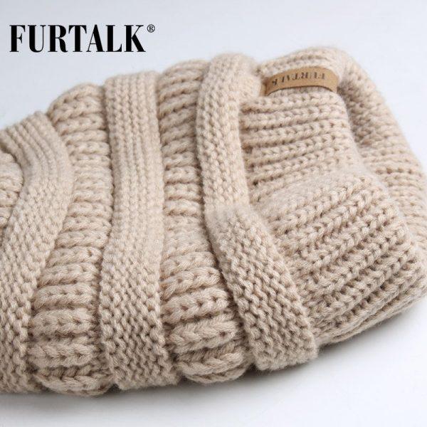 FURTALK Slouchy Beanie Winter Hat for Women Knitted Warm Fleece Lining Hat for Female Skullies Beanies Red Yellow Black Grey Cap 4