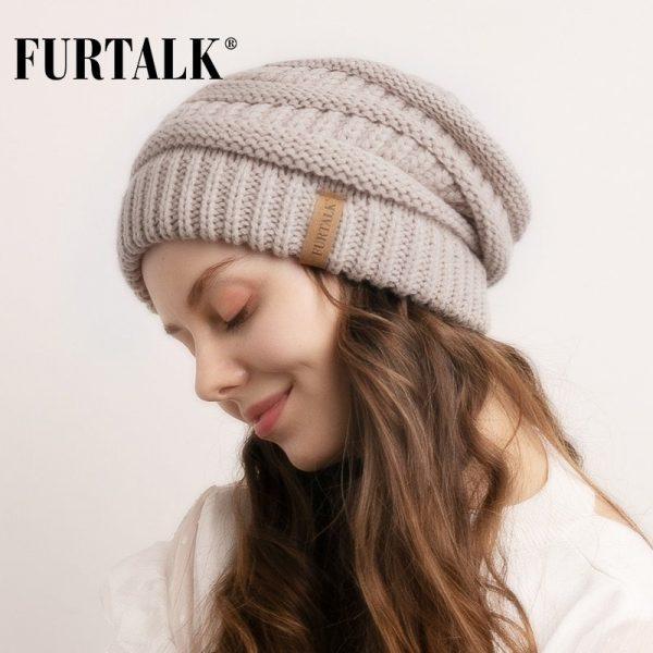 FURTALK Slouchy Beanie Winter Hat for Women Knitted Warm Fleece Lining Hat for Female Skullies Beanies Red Yellow Black Grey Cap 6