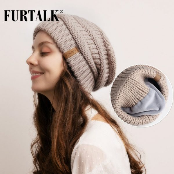FURTALK Slouchy Beanie Winter Hat for Women Knitted Warm Fleece Lining Hat for Female Skullies Beanies Red Yellow Black Grey Cap 1