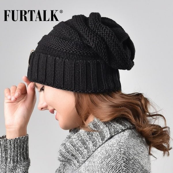 FURTALK Winter Knitted Hat Women Hat Slouchy Beanie for Girls Skullies Cap A047 4
