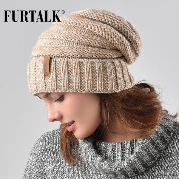 FURTALK Winter Knitted Hat Women Hat Slouchy Beanie for Girls Skullies Cap A047 2