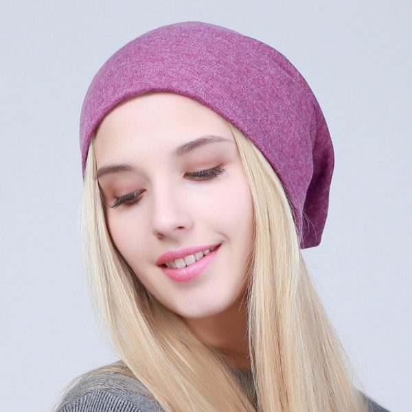 Geebro Women's Plain Beanie Hat 2018 Spring Cotton Slouchy Beanie for Women Knitted Bone Hat Ladies Black Skullies Cap JS293A 8