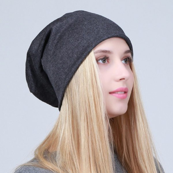 Geebro Women's Plain Beanie Hat 2018 Spring Cotton Slouchy Beanie for Women Knitted Bone Hat Ladies Black Skullies Cap JS293A 10