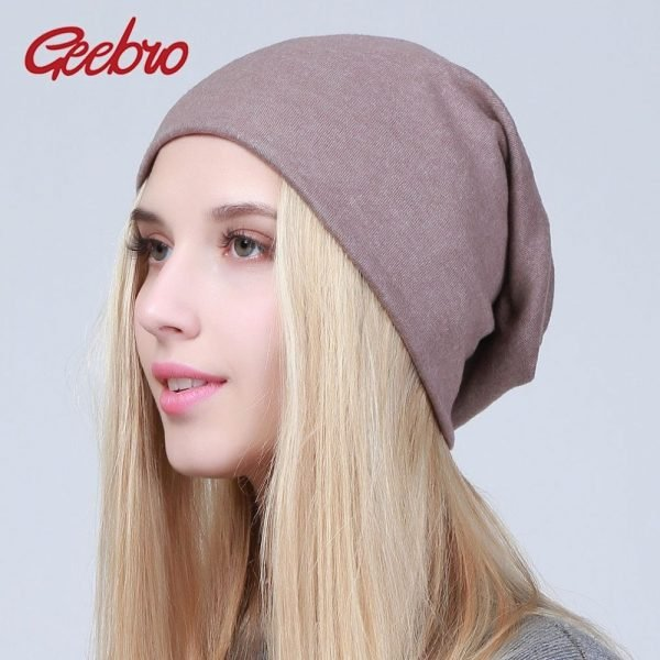 Geebro Women's Plain Beanie Hat 2018 Spring Cotton Slouchy Beanie for Women Knitted Bone Hat Ladies Black Skullies Cap JS293A 2