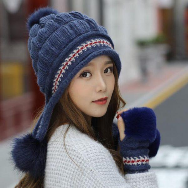 Girls Thicken Ski Snow Cap New Fashion Fur PomPoms Winter Women Beanie Hats Female Skullies Warm Gloves + Knit Hat Set 4