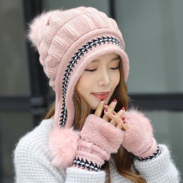 Girls Thicken Ski Snow Cap New Fashion Fur PomPoms Winter Women Beanie Hats Female Skullies Warm Gloves + Knit Hat Set 6