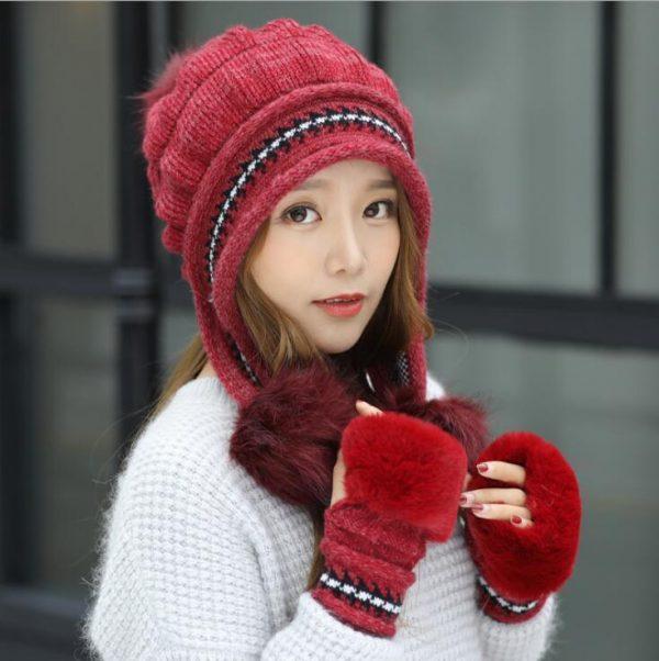 Girls Thicken Ski Snow Cap New Fashion Fur PomPoms Winter Women Beanie Hats Female Skullies Warm Gloves + Knit Hat Set 8