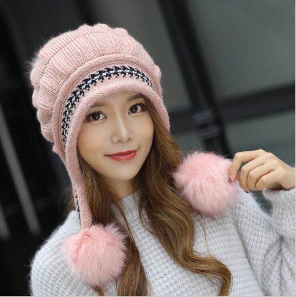 Girls Thicken Ski Snow Cap New Fashion Fur PomPoms Winter Women Beanie Hats Female Skullies Warm Gloves + Knit Hat Set 10