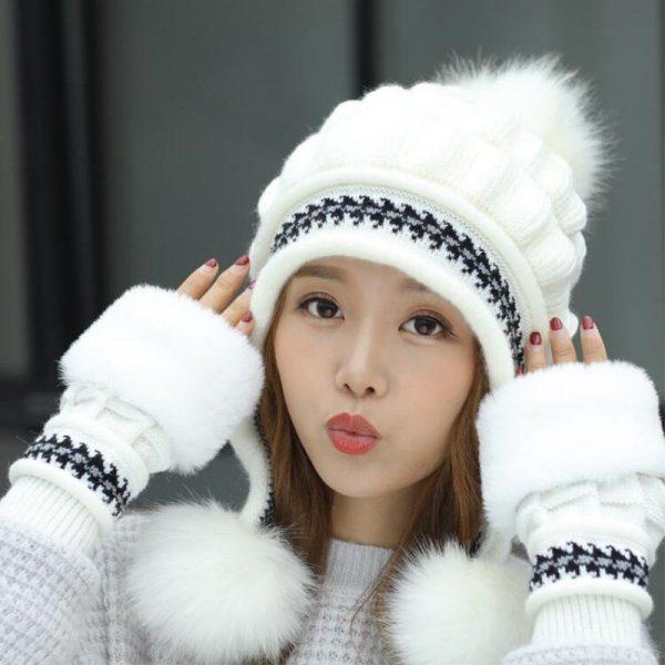 Girls Thicken Ski Snow Cap New Fashion Fur PomPoms Winter Women Beanie Hats Female Skullies Warm Gloves + Knit Hat Set 2