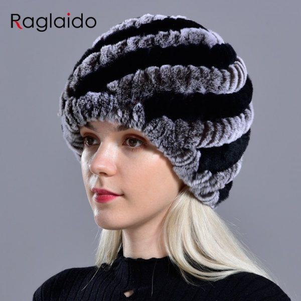 Raglaido Rabbit winter fur hat for Women Russian Real Fur Knitted Cap headgea Winter Warm Beanie Hats 2019 fashion brand LQ11279 10
