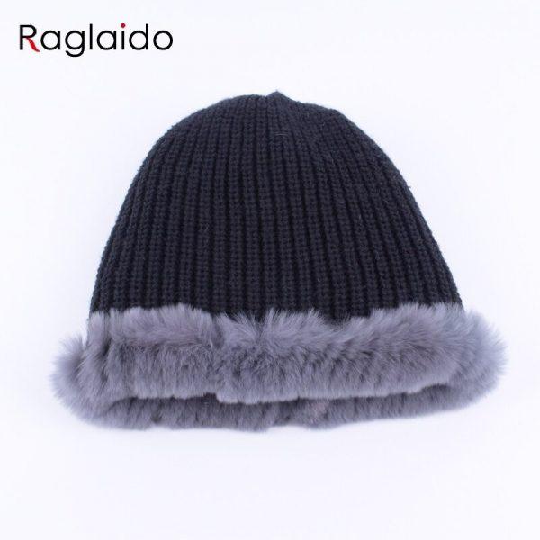 Raglaido Rabbit winter fur hat for Women Russian Real Fur Knitted Cap headgea Winter Warm Beanie Hats 2019 fashion brand LQ11279 12