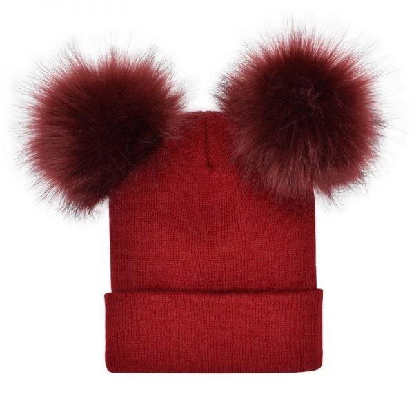 Women Double Faux Fur Pom Pom Hat Pompom Hat Winter Hats for Women Knitted  Beanie Women Girls Winter Caps Skullies Beanies 6