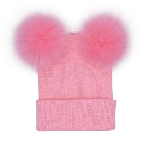 Women Double Faux Fur Pom Pom Hat Pompom Hat Winter Hats for Women Knitted  Beanie Women Girls Winter Caps Skullies Beanies 12