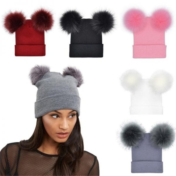Women Double Faux Fur Pom Pom Hat Pompom Hat Winter Hats for Women Knitted  Beanie Women Girls Winter Caps Skullies Beanies 2
