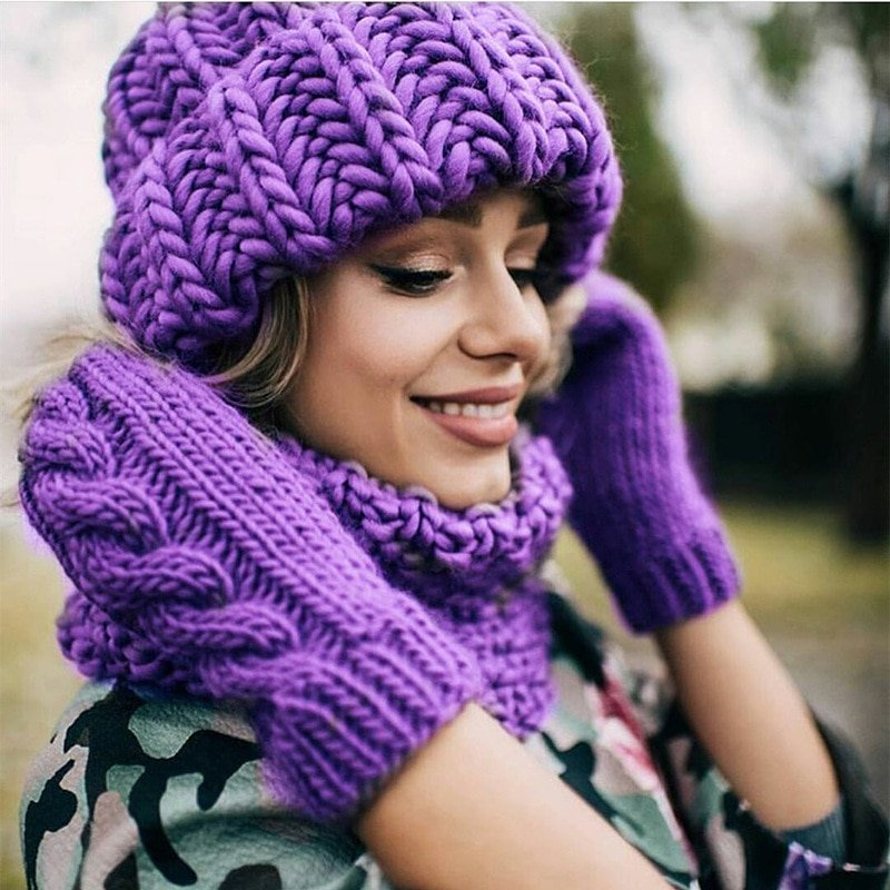Women Winter Knitted Beanies Hat Thick Soft Warm Coarse Large Knitted Solid Hat Female Ice Ski Bonnet Skullies Beanies Hat Cap 3