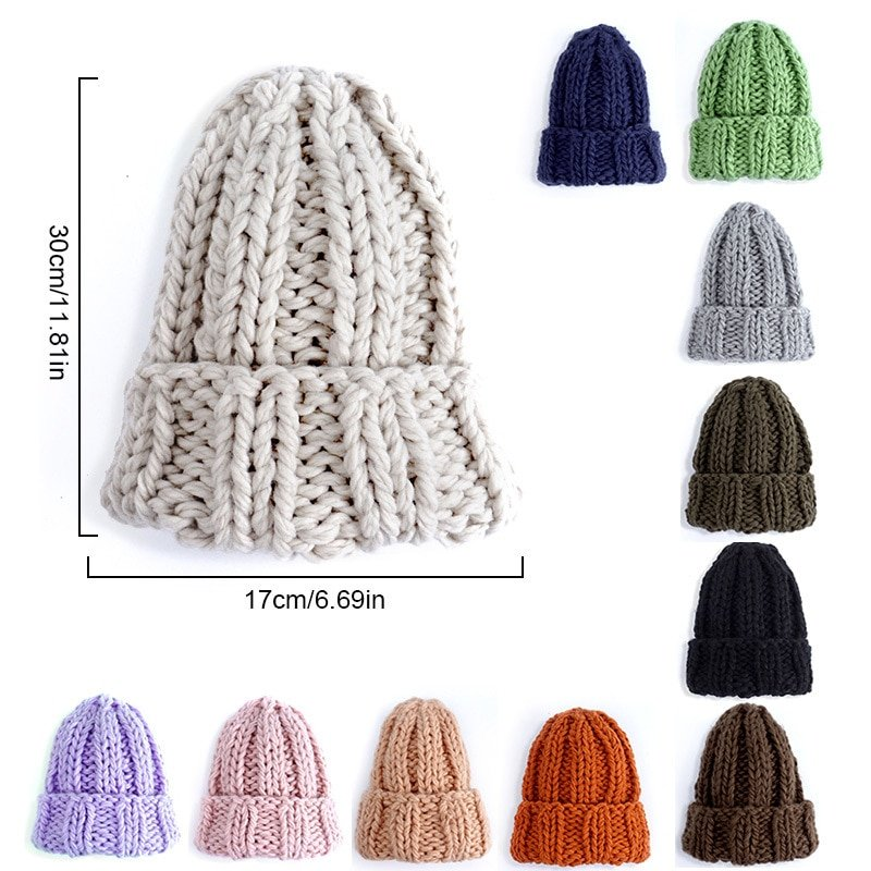 Women Winter Knitted Beanies Hat Thick Soft Warm Coarse Large Knitted Solid Hat Female Ice Ski Bonnet Skullies Beanies Hat Cap 7