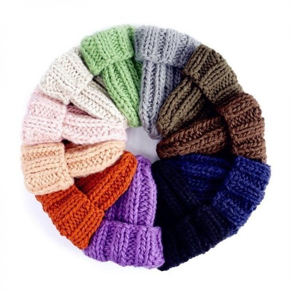 Women Winter Knitted Beanies Hat Thick Soft Warm Coarse Large Knitted Solid Hat Female Ice Ski Bonnet Skullies Beanies Hat Cap 10