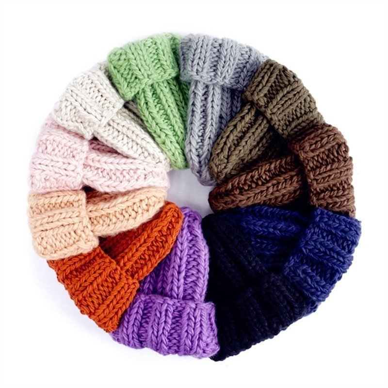 Women Winter Knitted Beanies Hat Thick Soft Warm Coarse Large Knitted Solid Hat Female Ice Ski Bonnet Skullies Beanies Hat Cap 9