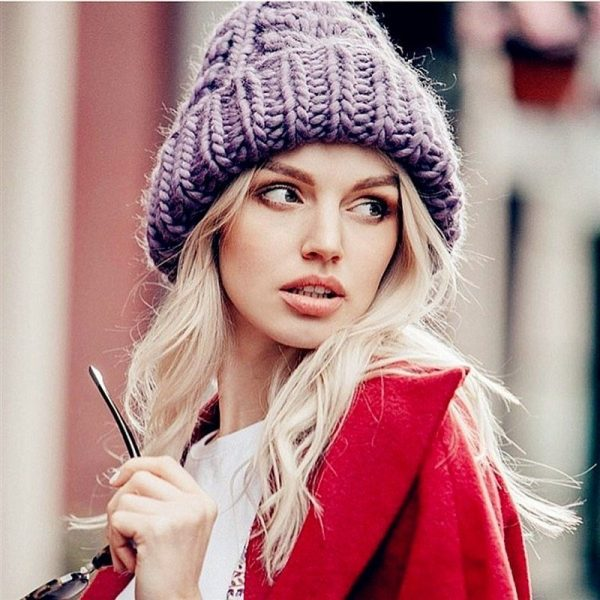 Women Winter Knitted Beanies Hat Thick Soft Warm Coarse Large Knitted Solid Hat Female Ice Ski Bonnet Skullies Beanies Hat Cap 2