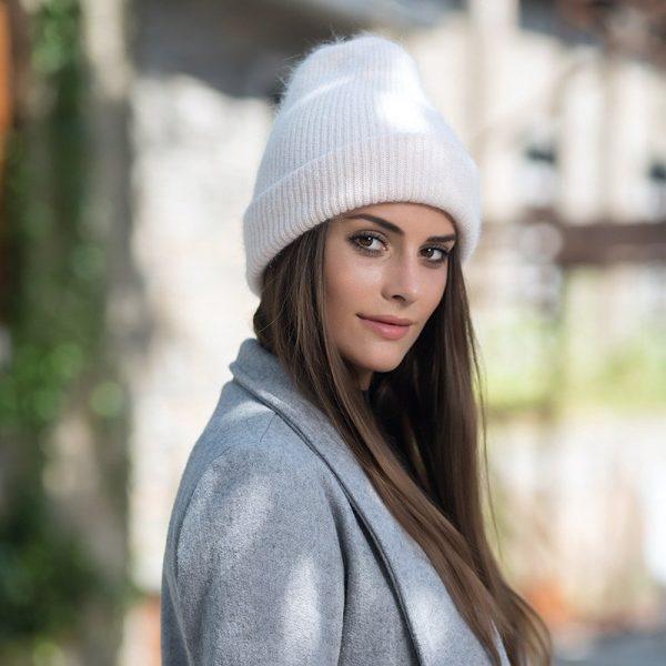 Women knitted Winter Hat female Warm Rabbit fluff beanie Girl Solid Bonnet femme Skullies beanies Soft Hats Women's Winter Caps 4