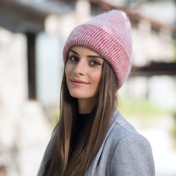 Women knitted Winter Hat female Warm Rabbit fluff beanie Girl Solid Bonnet femme Skullies beanies Soft Hats Women's Winter Caps 6