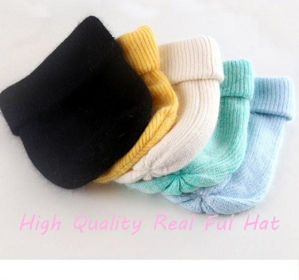 Women knitted Winter Hat female Warm Rabbit fluff beanie Girl Solid Bonnet femme Skullies beanies Soft Hats Women's Winter Caps 8