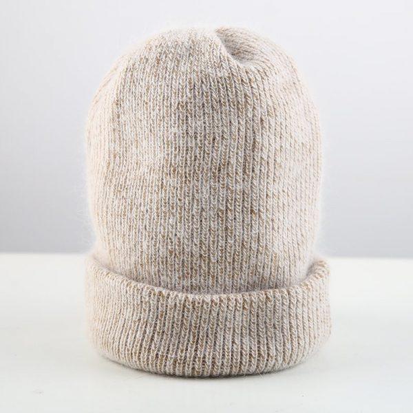 Women knitted Winter Hat female Warm Rabbit fluff beanie Girl Solid Bonnet femme Skullies beanies Soft Hats Women's Winter Caps 10
