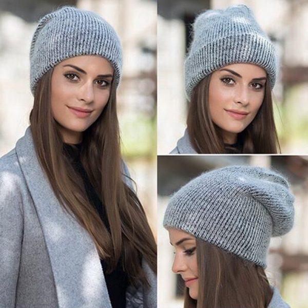 Women knitted Winter Hat female Warm Rabbit fluff beanie Girl Solid Bonnet femme Skullies beanies Soft Hats Women's Winter Caps 2