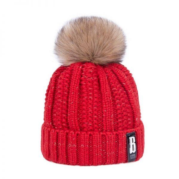 Women's Winter Hat Cotton Knit Fashion Winter Warm Beanie Hat Adjustable Hood Soft Pompom Hat Outdoor Sports 6