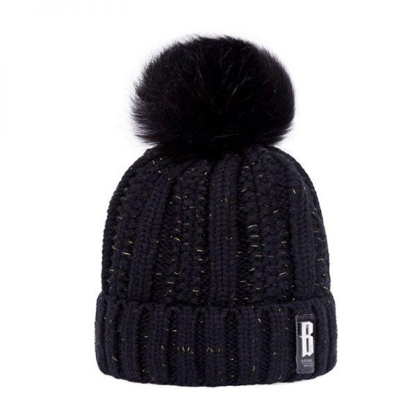 Women's Winter Hat Cotton Knit Fashion Winter Warm Beanie Hat Adjustable Hood Soft Pompom Hat Outdoor Sports 8
