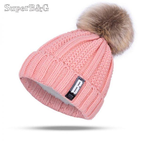 Women's Winter Hat Cotton Knit Fashion Winter Warm Beanie Hat Adjustable Hood Soft Pompom Hat Outdoor Sports 2