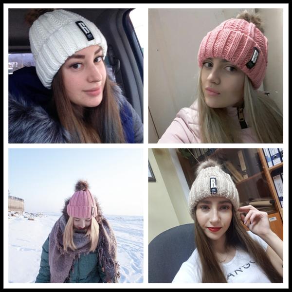 Women's Winter Hat Cotton Knit Fashion Winter Warm Beanie Hat Adjustable Hood Soft Pompom Hat Outdoor Sports 12