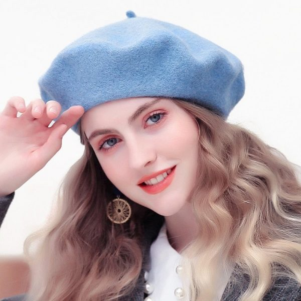 Wool Beret Hats Women Winter French Hat Girls Solid Color Fashion Autumn Winter Beret Hat For Women Flat Cap Hat Felt Berets 4