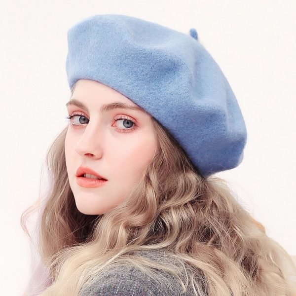 Wool Beret Hats Women Winter French Hat Girls Solid Color Fashion Autumn Winter Beret Hat For Women Flat Cap Hat Felt Berets 2