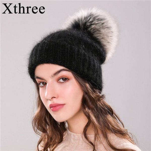 Xthree 70% Angola Rabbit fur knitted hat with real fur pom pom hat Skullie beanie winter hat for women  girl 's hat female cap 4
